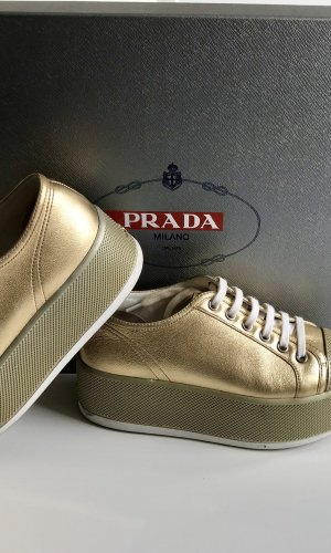 Prada Wedge Sneaker gold-colored leather