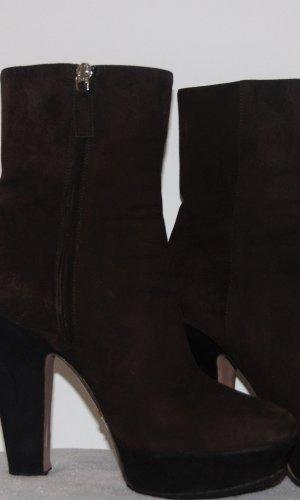Prada Platform Booties dark brown-black