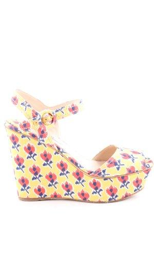 Prada Wedge Sandals flower pattern casual look