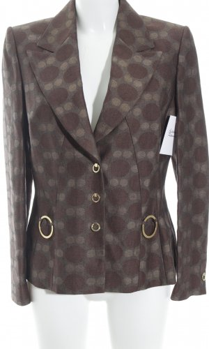 Prestige Elegance Long-Blazer braun-creme Punktemuster extravaganter Stil