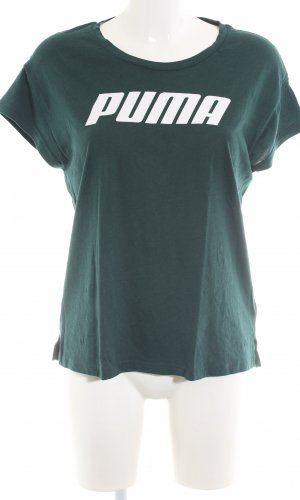 Puma T-Shirt grün Schriftzug gedruckt Casual-Look