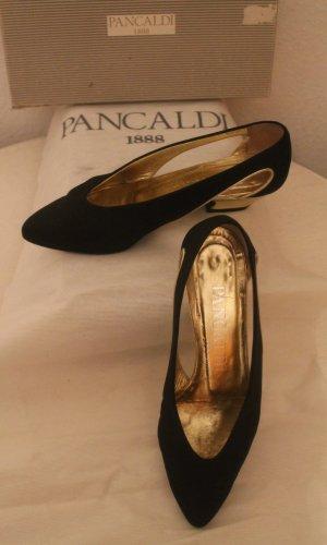 Pumps / Ballerinas * schwarz / gold * kleiner Absatz *