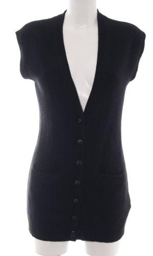 Ralph Lauren Chaleco de punto largo negro look casual