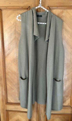 Riani Chaleco de punto largo gris verdoso-caqui