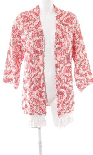 Rich & Royal Cárdigan de estilo noruego blanco puro-rojo Patrón de tejido