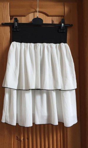 Volanten rok wit-zwart