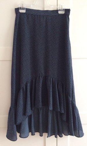 H&M Volanten rok donkerblauw-wit