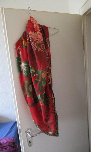 Écharpe ronde rouge-vert