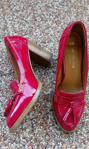 3 Suisses Moccasins neon red-camel synthetic