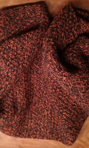Écharpe ronde orange clair-brun noir