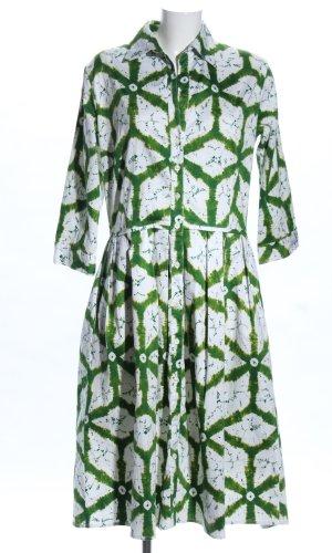 Samantha sung Robe chemise blanc-vert Mélange de motifs style décontracté