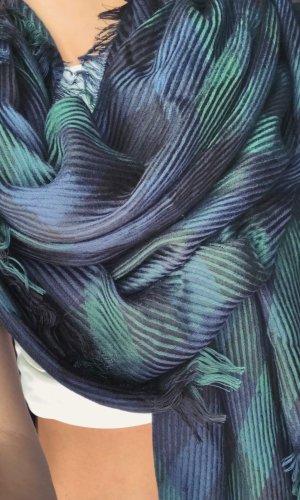 Bufanda de punto azul oscuro-verde claro