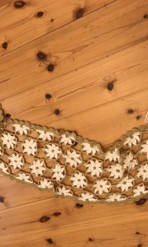 Bufanda de punto blanco puro-color oro