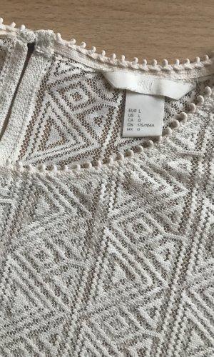H&M Gehaakt shirt wolwit-licht beige
