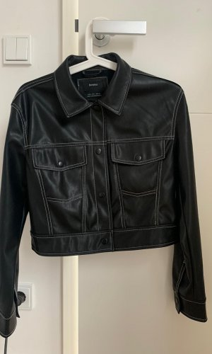 Zara Chaqueta de cuero negro-blanco