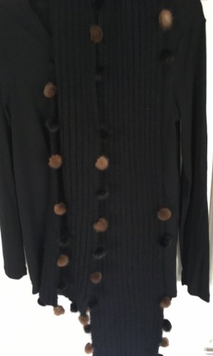 Bufanda de punto negro-marrón acetato