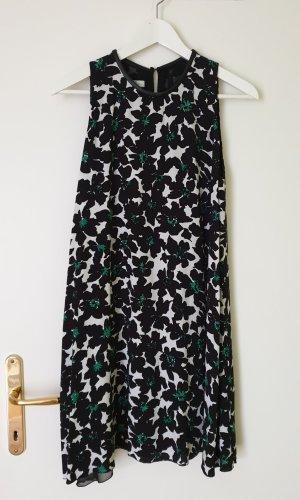 Schwarzes Hängekleid mit Blumenprint