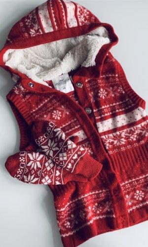 H&M Cárdigan de estilo noruego blanco-rojo tejido mezclado