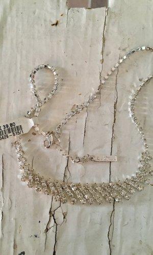 Silbercollier mit Kristallsteinen, Elegant, Neu mit Etikett