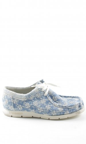 Sioux Moccasins blue-white flower pattern casual look