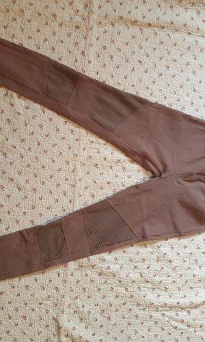 Pantalón elástico marrón grisáceo tejido mezclado