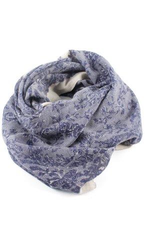 Zomersjaal blauw-room bloemenprint casual uitstraling