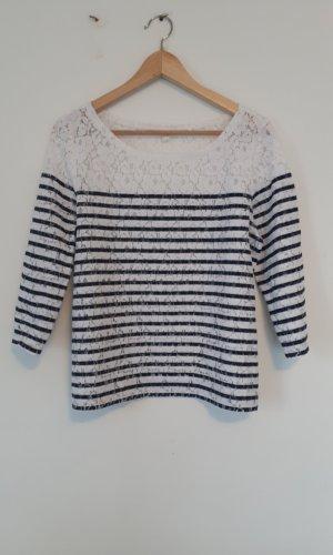 Esprit Gehaakt shirt wit-donkerblauw Polyester