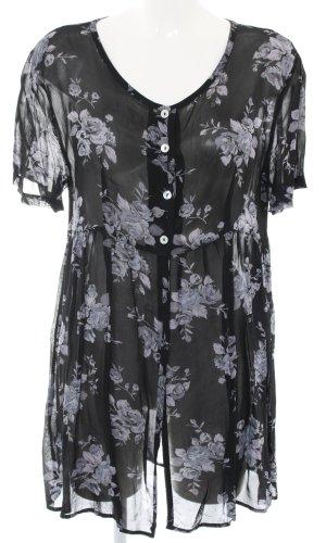 Staccato Lange blouse zwart-lichtgrijs volledige print casual uitstraling