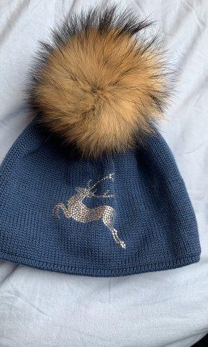 Steffner Chapeau en fourrure bleu