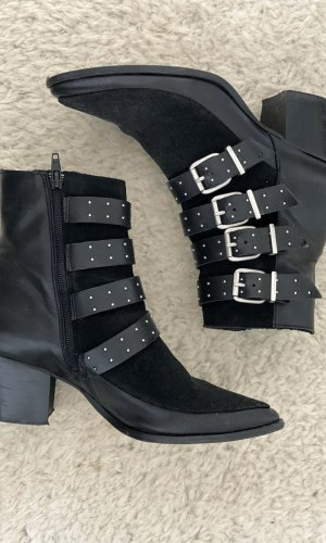 Topshop Zipper Booties black-silver-colored leather