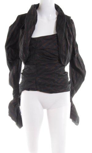 Sylvia Heise Jersey Twin Set schwarz-braun Streifenmuster extravaganter Stil