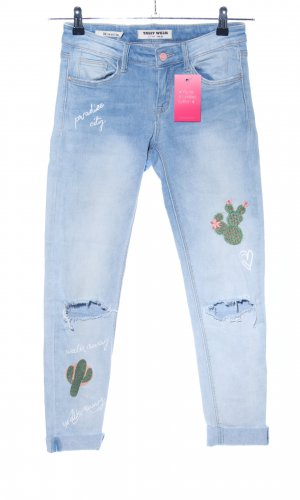 Tally Weijl Skinny Jeans blue themed print casual look