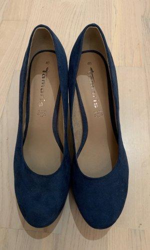 Tamaris Plateauzool pumps blauw-donkerblauw