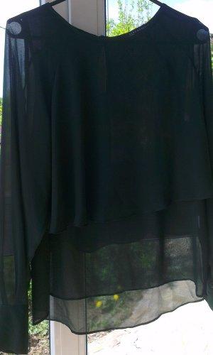 Tannengrüne Chiffonbluse von Zara Gr.36