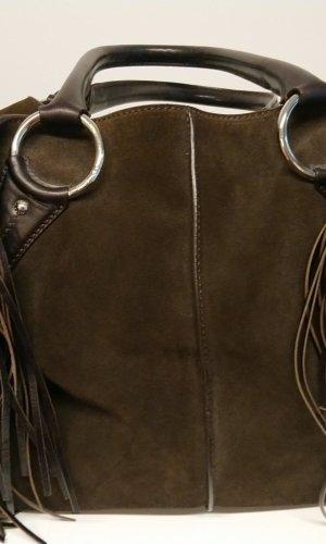Tod's Fringed Bag dark brown suede