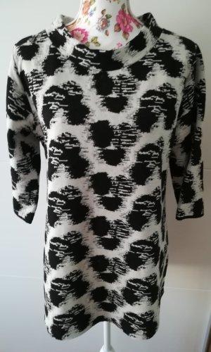 Sweater met korte mouwen wit-zwart
