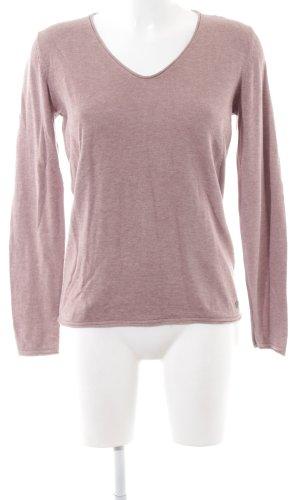 Tom Tailor V-Ausschnitt-Pullover pink Allover-Druck Casual-Look