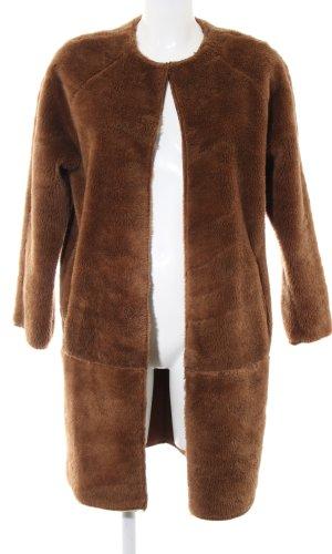 Topshop Fake Fur Coat brown simple style