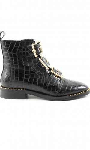 Topshop Short Boots black animal pattern business style