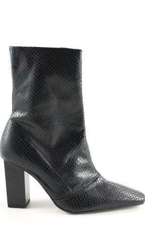 Topshop Zipper Booties black animal pattern casual look