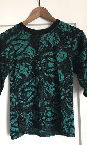 Topshop Print Shirt black-turquoise