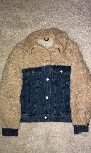 Topshop Denim Jacket natural white-blue fake fur