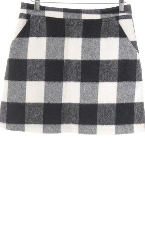 Topshop Wollen rok zwart-wolwit tafelkleed patroon elegant