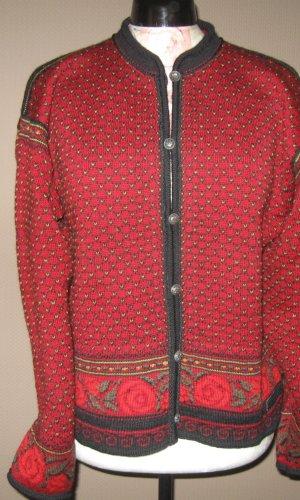 Dale of Norway Cárdigan de estilo noruego carmín lana de esquila