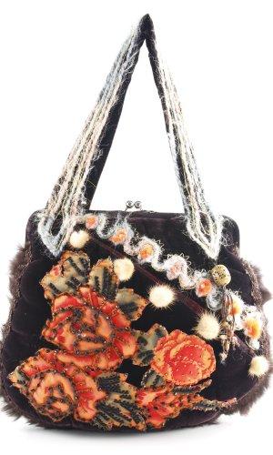 Traditional Bag brown violet embroidered lettering