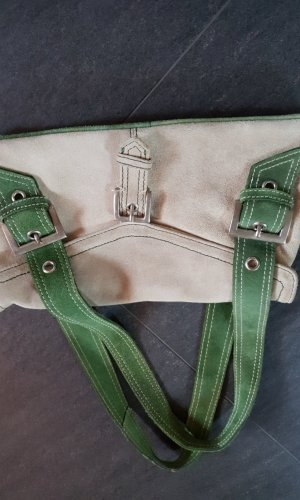 Traditional Bag gold-colored-forest green leather