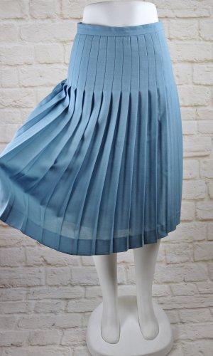 Vintage Jupe à plis bleu azur-bleuet tissu mixte