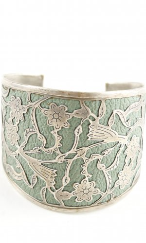 Armlet gold-colored-khaki flower pattern extravagant style