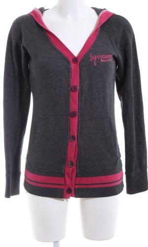 Veste sweat noir-rose moucheté style décontracté