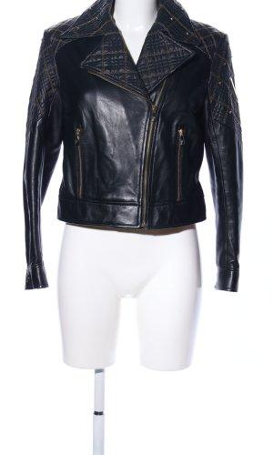 Versace Collection Chaqueta de cuero negro look casual